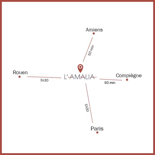 Carte montrant la proximité avec 4 villes